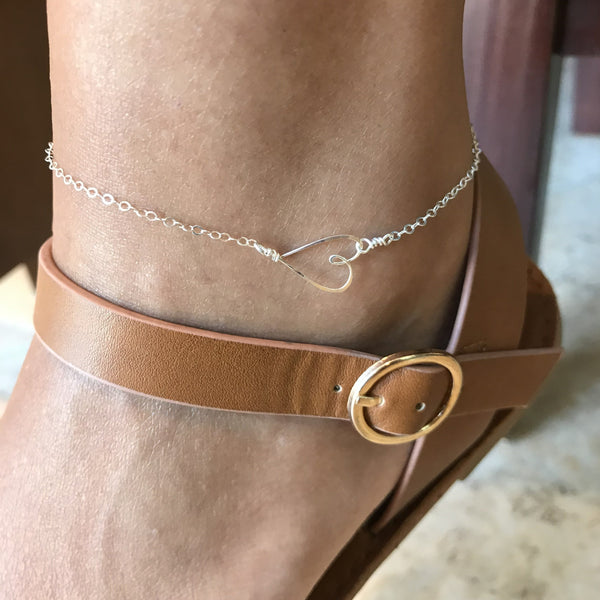 Beth Jewelry, delicate handmade silver sideways heart anklet with brown sandal