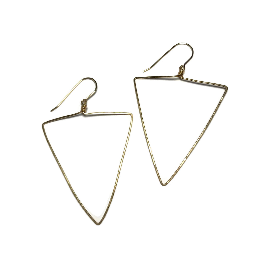 Beth Jewelry, handmade delicate big triangle earrings