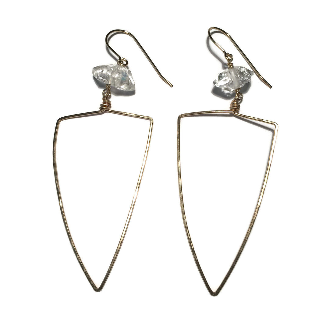 Beth Jewelry, handmade big triangle earrings with quartz