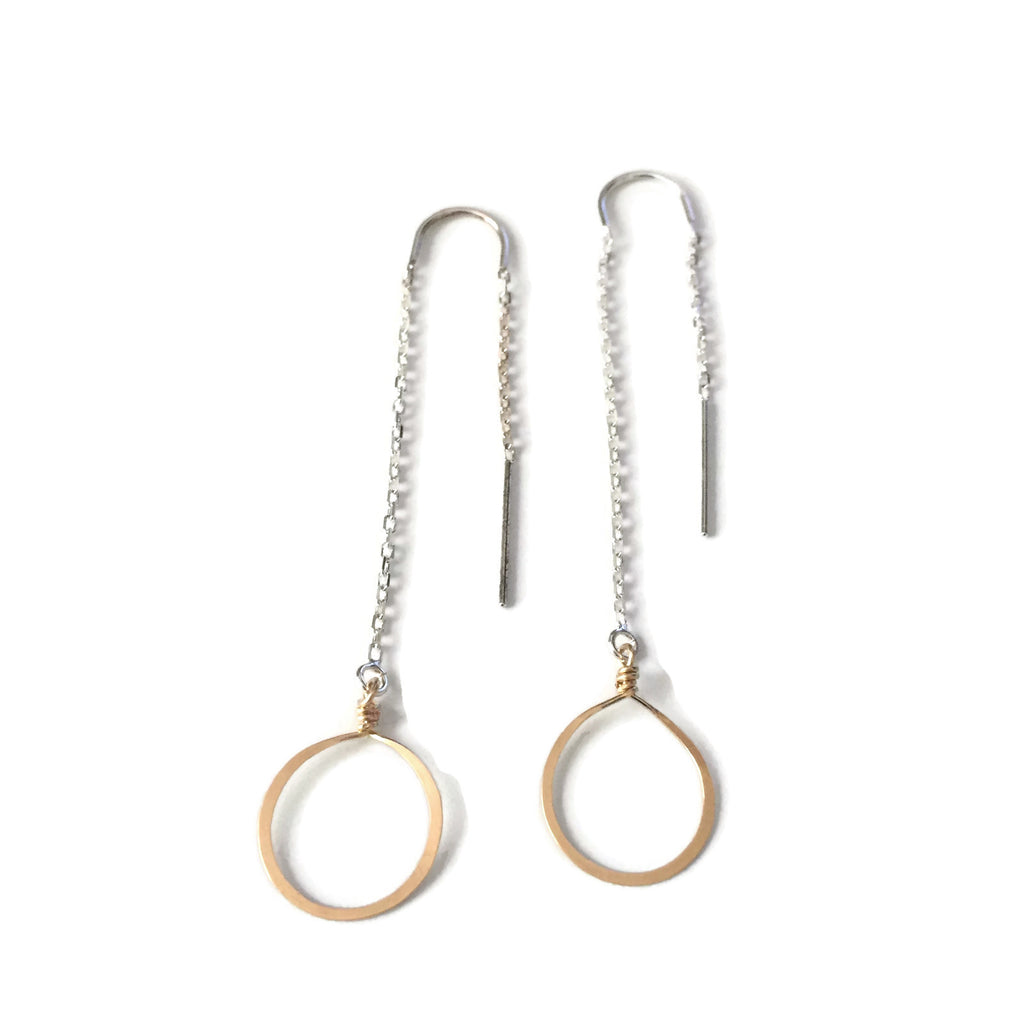 handmade sterling silver circle threader earrings