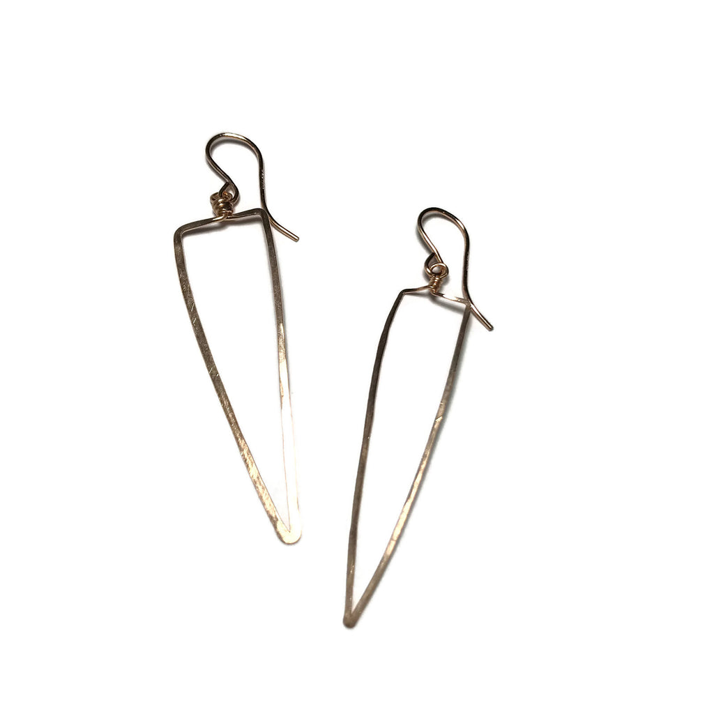 Beth Jewelry, handmade dagger shaped triangle earrings