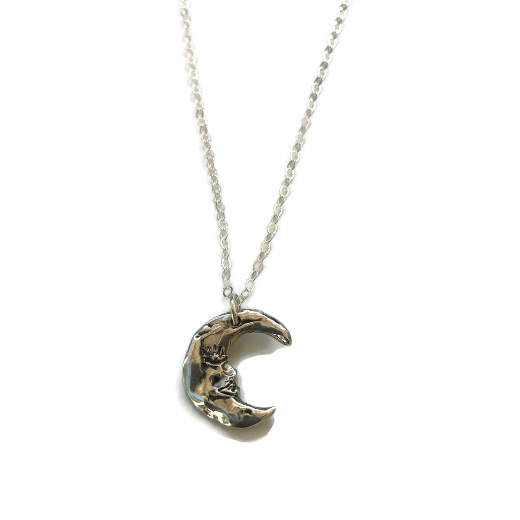 harvest charm hand-sculpted silver crescent moon pendant