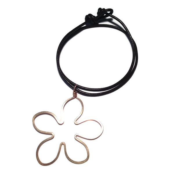 Beth Jewelry, handmade flower necklace on leather