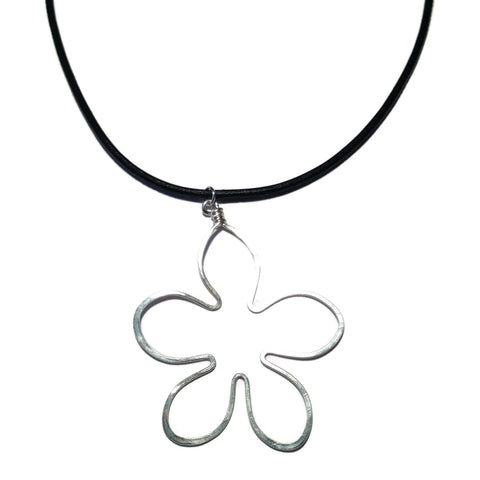 Flower Necklace on Leather