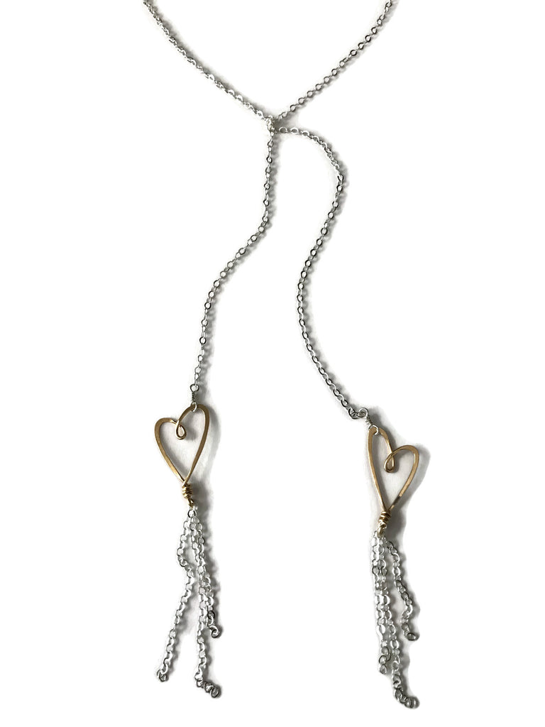 open hearts mixed metal lariat, Beth Jewelry