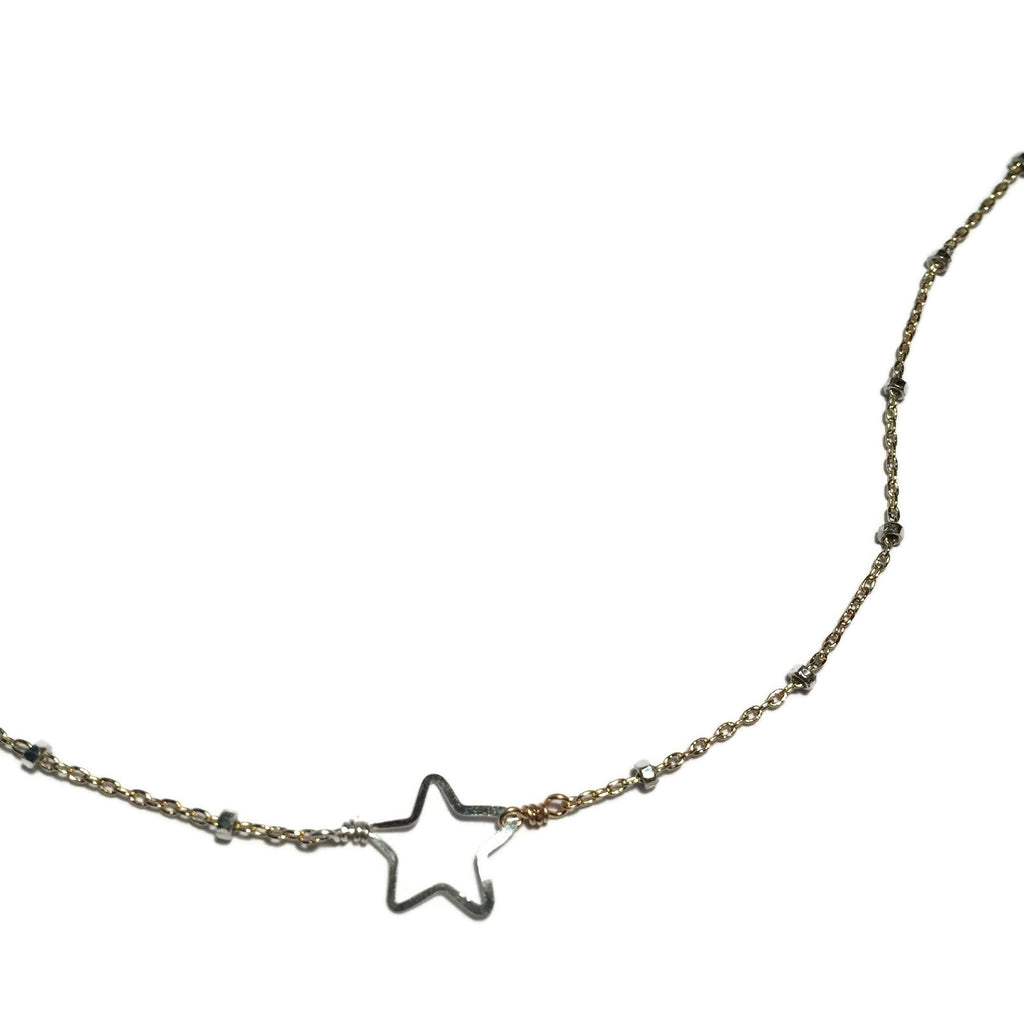 Beth Jewelry, handmade gold/silver tiny star necklace