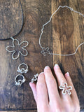 harvest charm silver flower ring and coordinating handmade flower jewelry