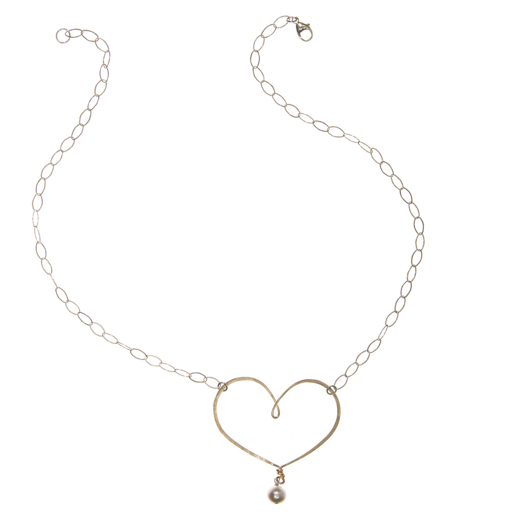 silver & gold-filled handmade classic heart necklace with pearl