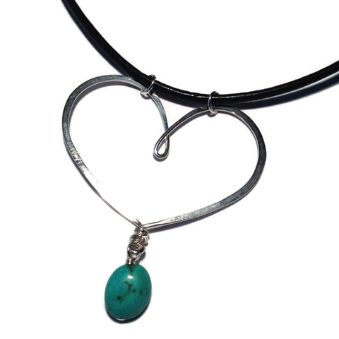 Heart Necklace on Leather
