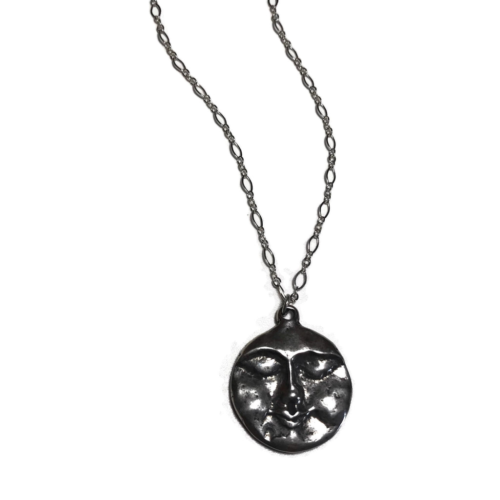 hand-carved silver moon face pendant necklace
