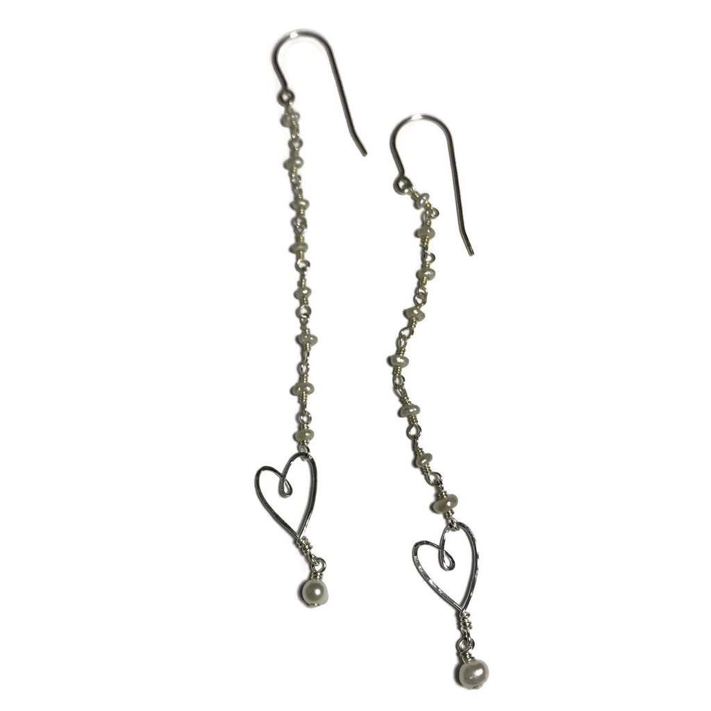 Pearl Long Tiny Heart Earrings
