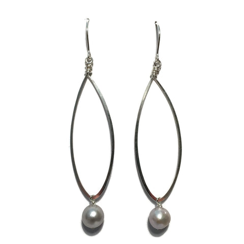 Long Teardrop Earrings with Bead
