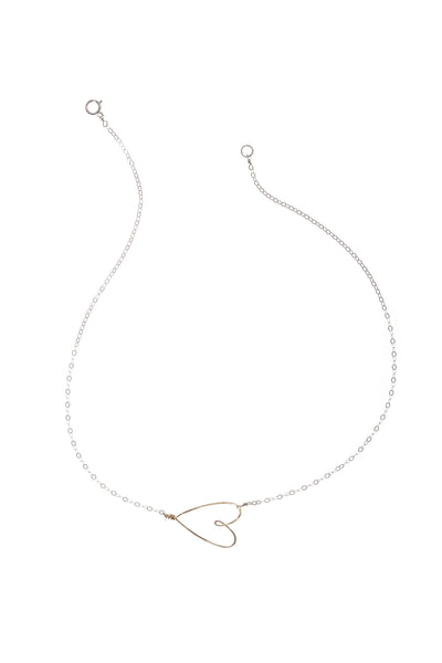 silver & gold delicate heart necklace - Beth Jewelry