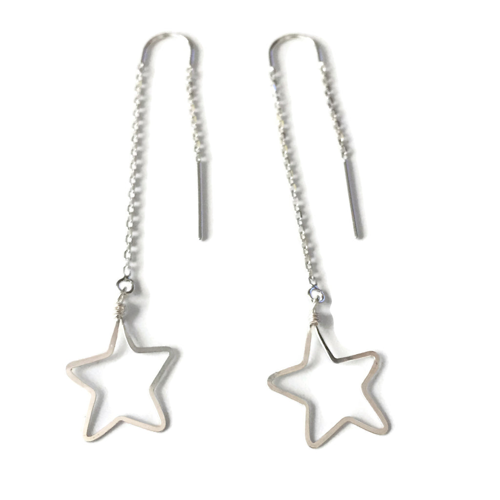 Beth Jewelry, handmade medium star threader earrings