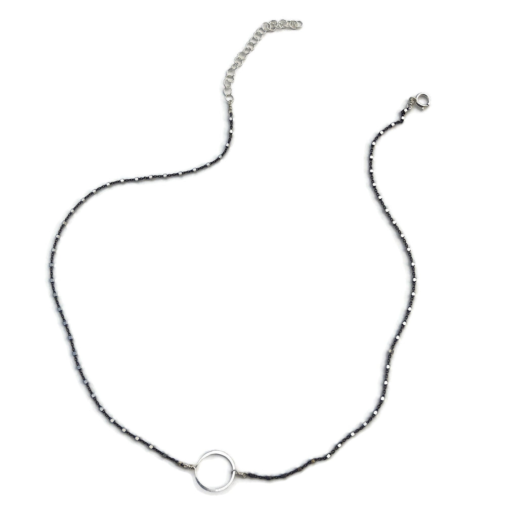 beth jewelry oxidized tiny circle necklace, silver