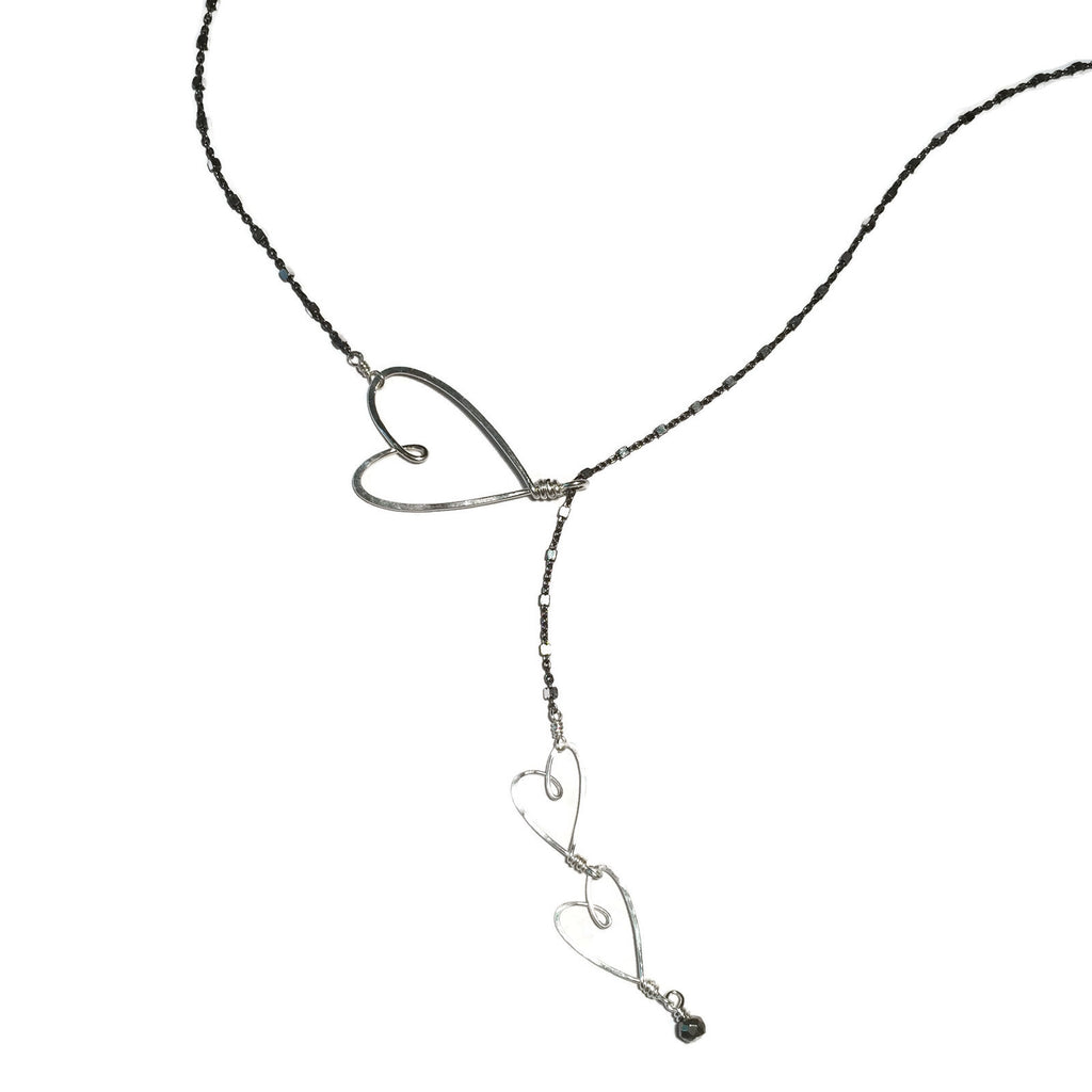 Beth Jewelry, handmade oxidized sliding hearts necklace