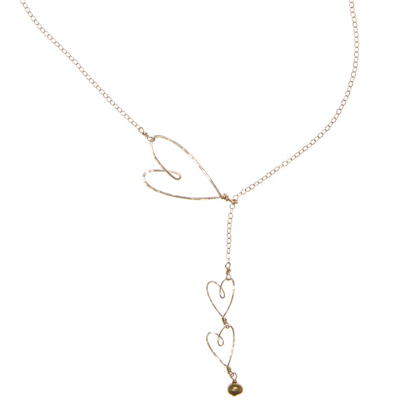 Sliding Hearts Necklace gold-filled - Beth Jewelry