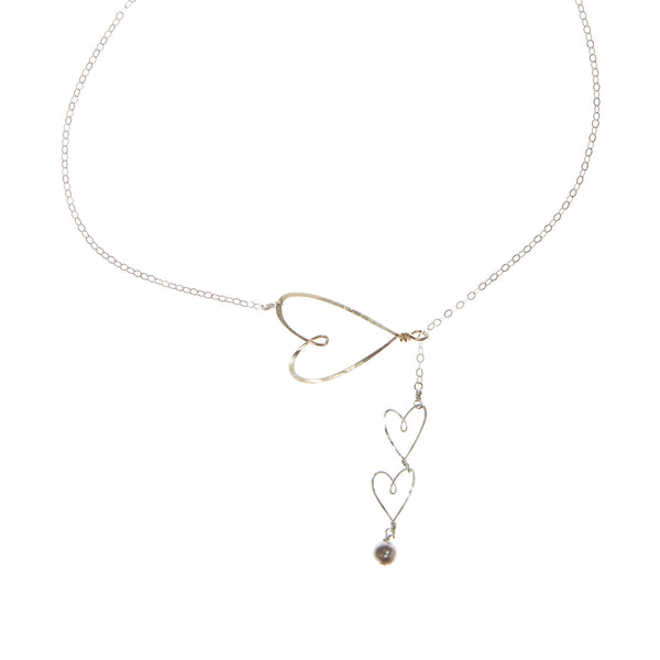 Sliding Hearts Necklace, silver and gold-filled - Beth Jewelry