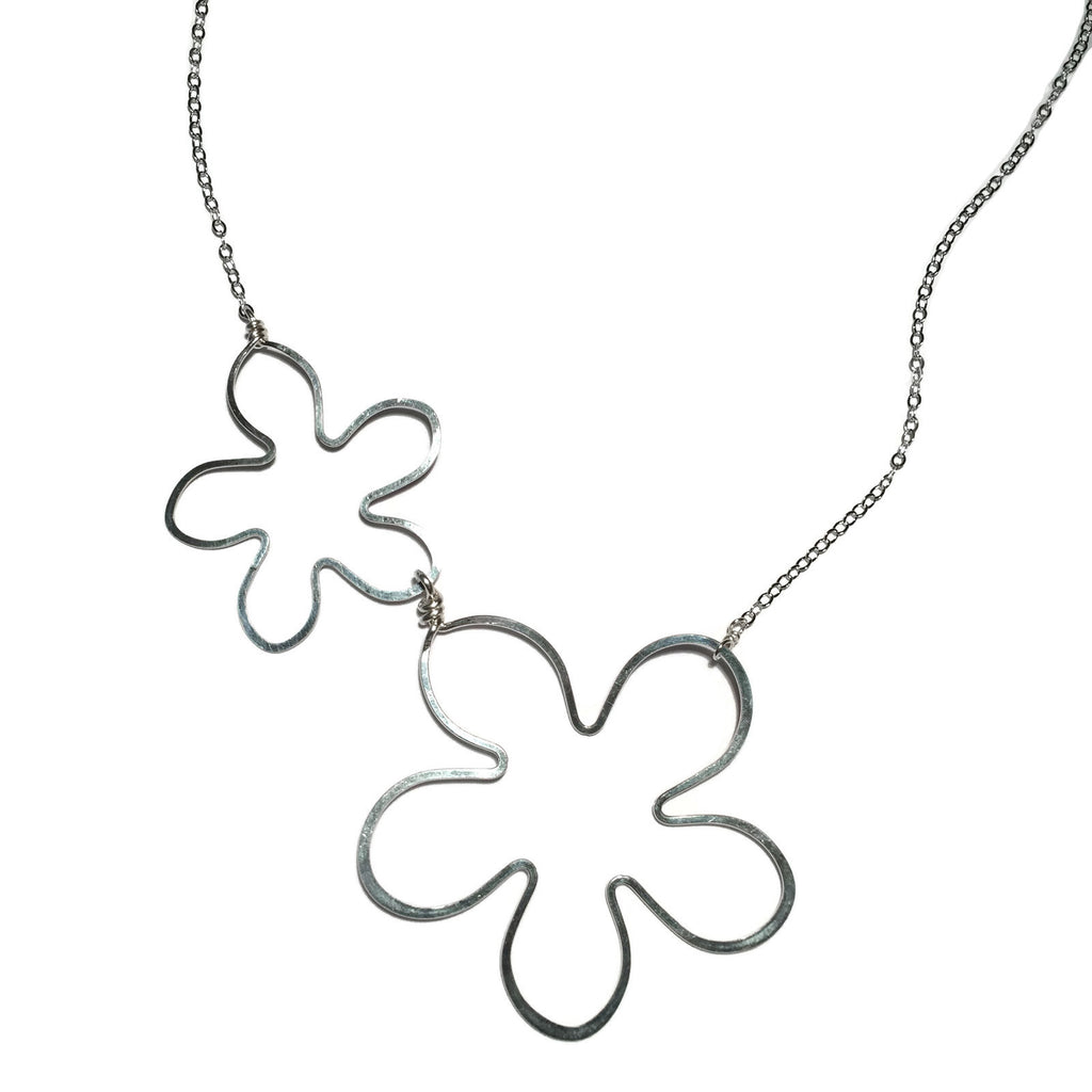 Beth Jewelry, handmade small 2 flower necklace