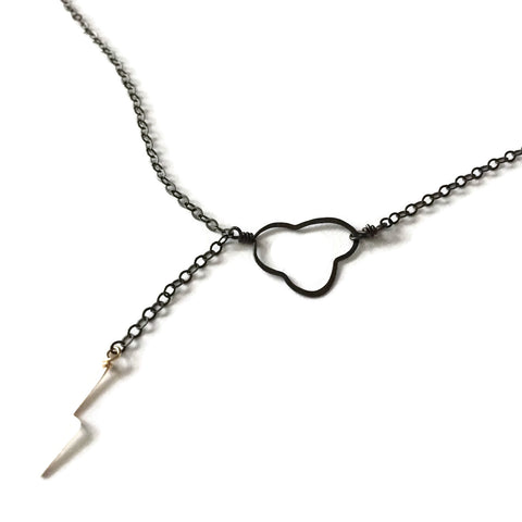Tiny Cloud & Lightning Bolt Necklace