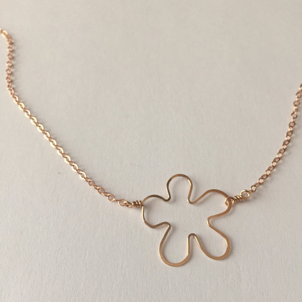 Beth Jewelry by Beth Kukuk, handmade rose gold-filled tiny flower necklace