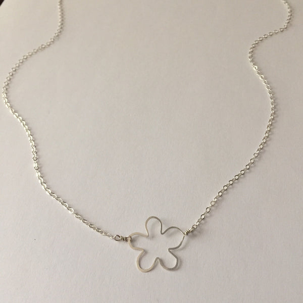 handmade sterling silver tiny flower necklace, Beth Jewelry by Beth Kukuk