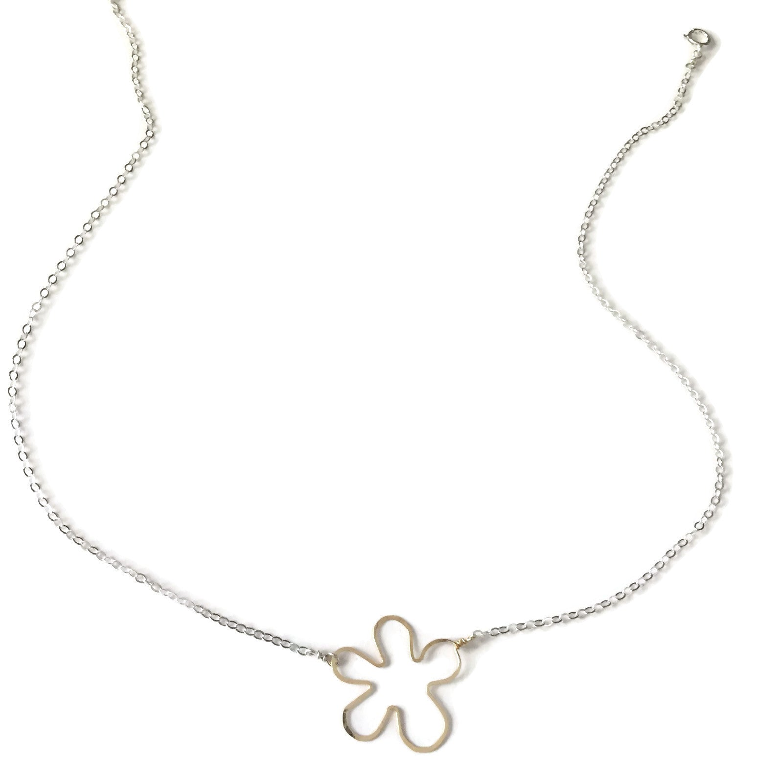 mixed metal tiny flower necklace, gold and silver, handmade by Beth Jewelry