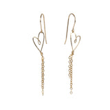 handmade delicate gold-filled tiny heart earrings with dangly chains