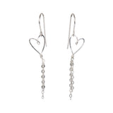 sterling silver delicate handmade heart earrings with dangly chain