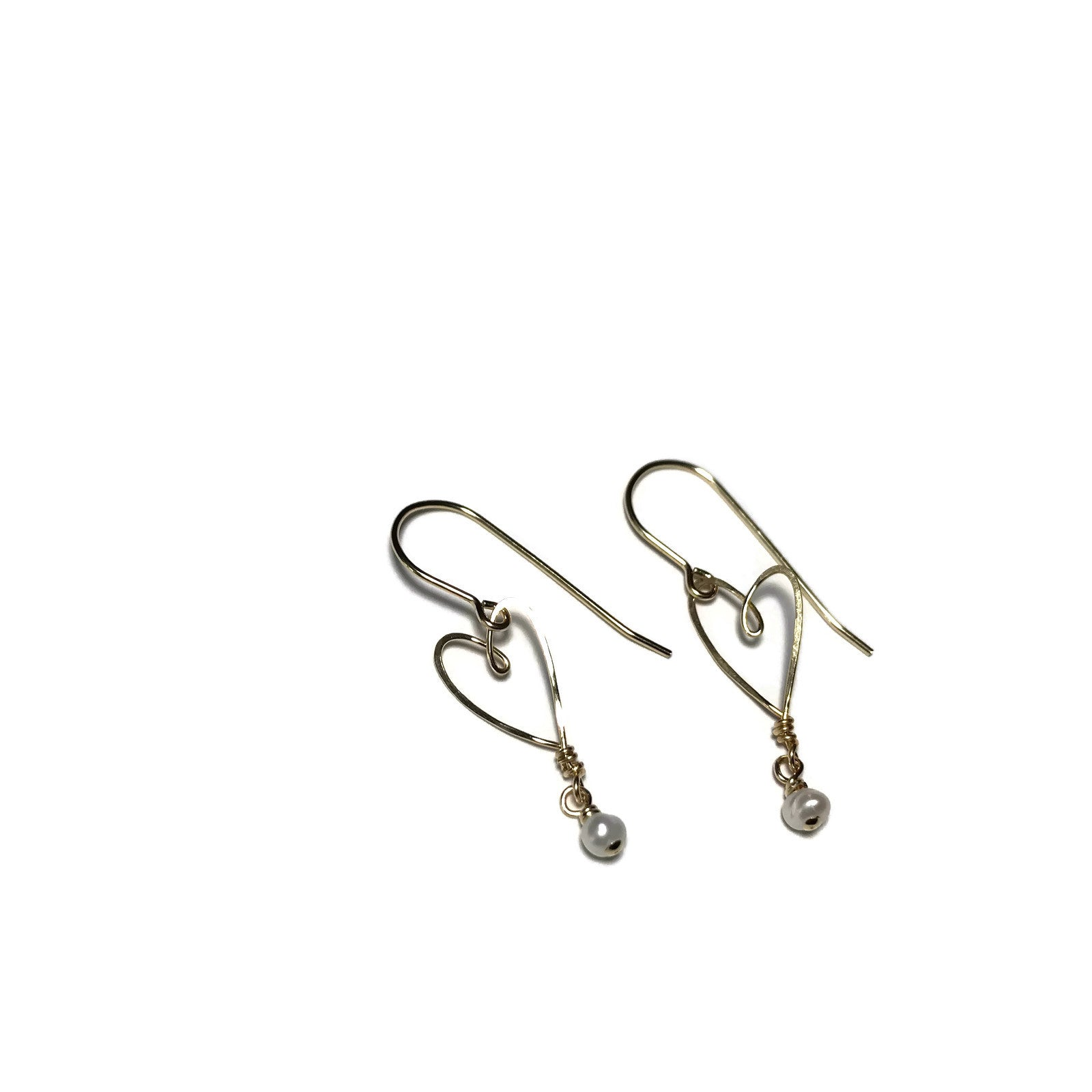 Beth Jewelry, gold-filled tiny heart earrings with pearl