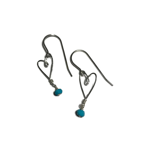 Tiny Heart Earrings with Turquoise