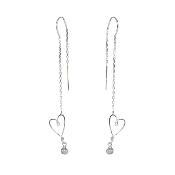 tiny heart threader earrings with pearl
