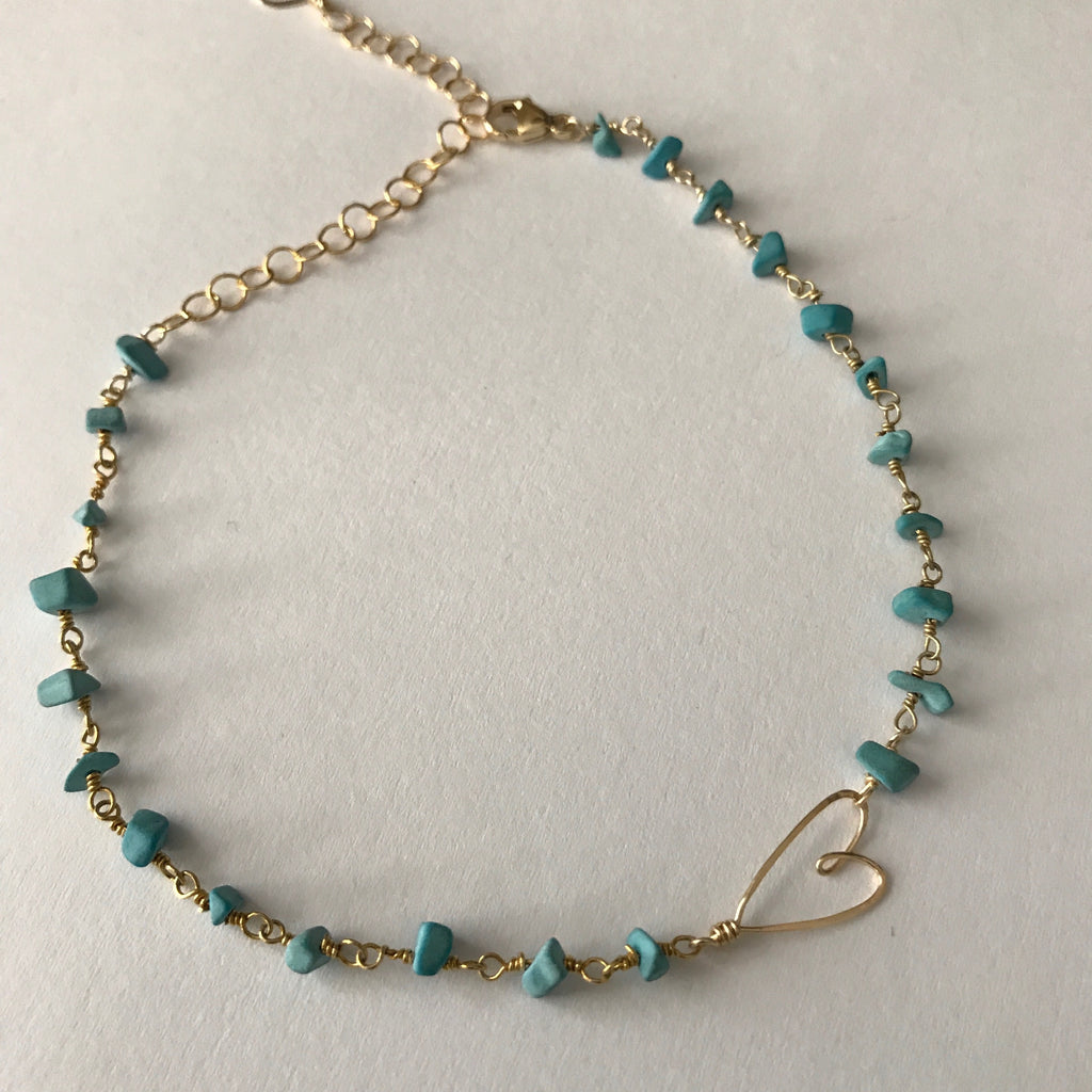 Beth Jewelry, handmade gold-filled turquoise tiny heart anklet