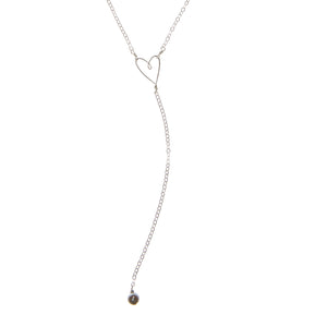Tiny Heart Y Necklace, sterling silver - Beth Jewelry