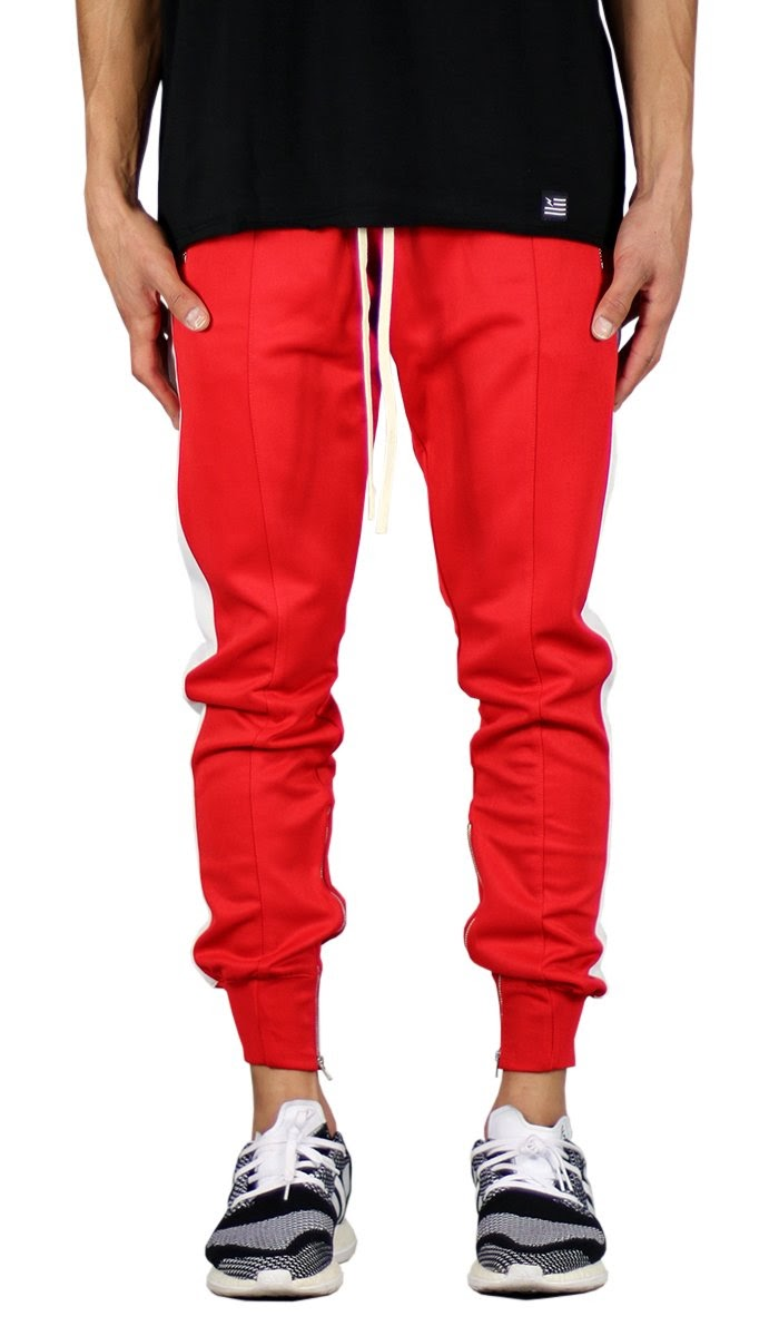 comfortable red joggers