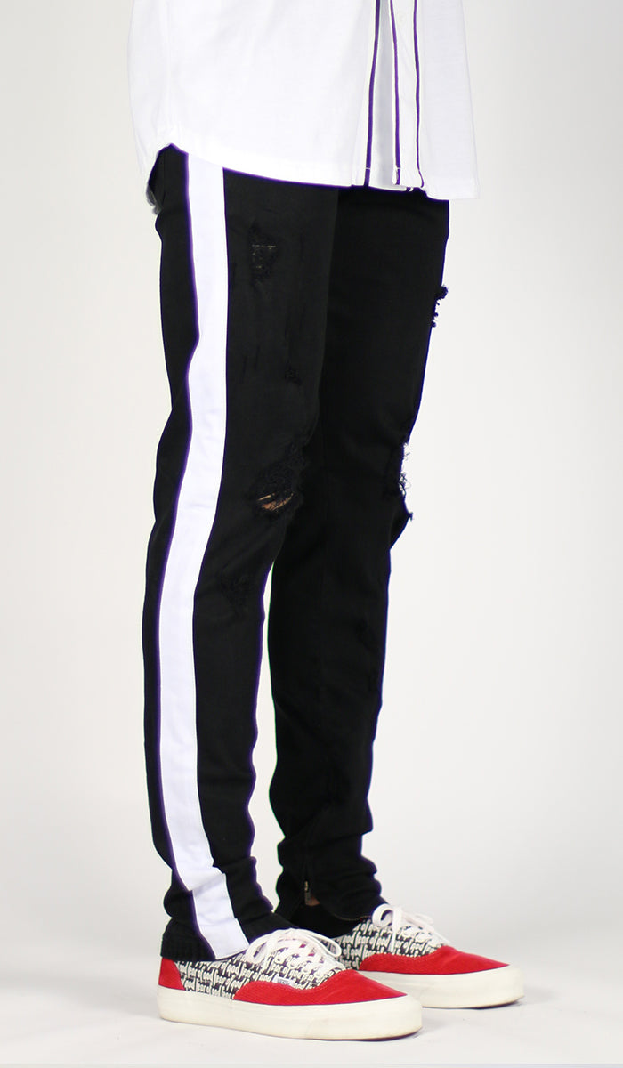 cheap for sale official price sneakers Black White Track Zipper Jean