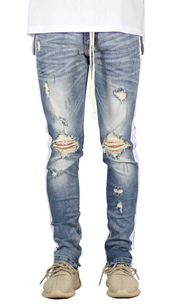 LT.Blue Track Zipper Jean