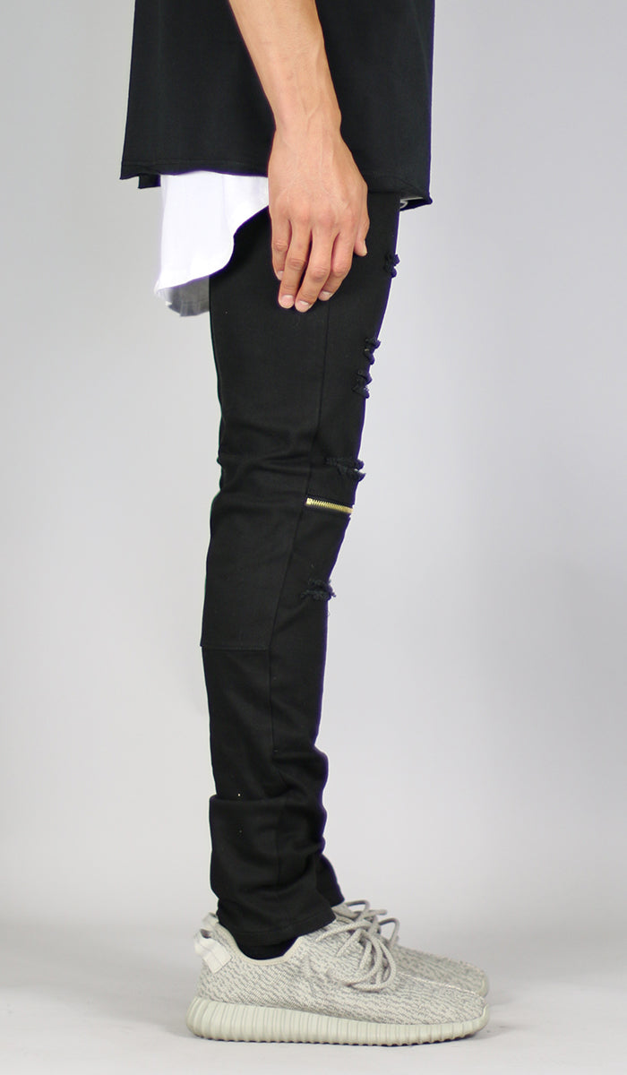 Black Knee Zipper pant