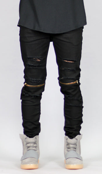 Black Knee Zipper pants