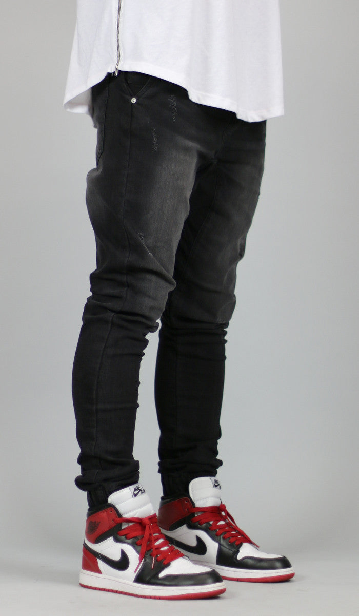 38aeab04e686d0 Black Drop Crotch Denim Jogger