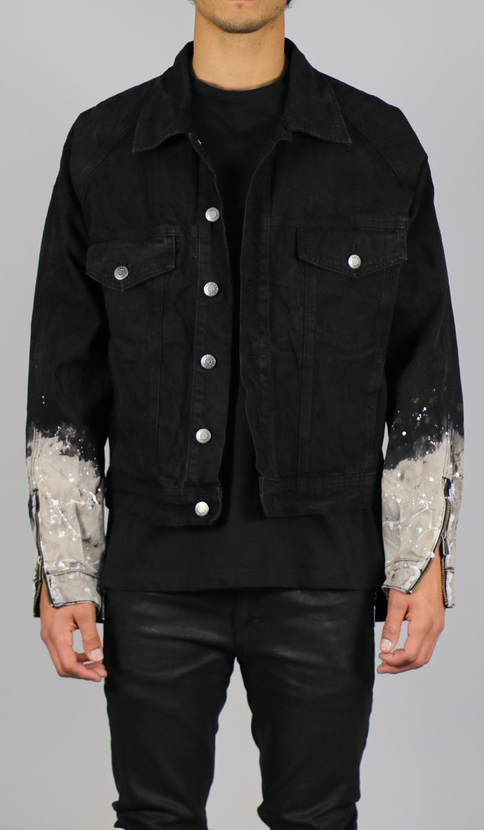 9618323fd12b3 Flame Black Denim Jacket - HYPER DENIM