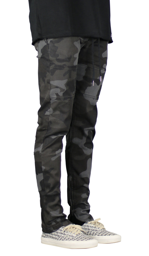 Black Camo Zipper Pant