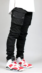 Black Cargo Slim Tapered Pants