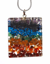 "Load image into Gallery viewer, New! Chakra Natural Crystal Stones Rectangular Pendant Inc 18"" Silver Necklace Gift Wrapped"