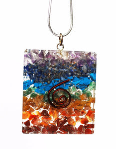 "New! Chakra Natural Crystal Stones Rectangular Pendant Inc 18"" Silver Necklace Gift Wrapped"