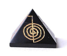 Load image into Gallery viewer, Black Jasper (Basanite) Crystal Pyramid Hand Carved with Reiki Symbols - Krystal Gifts UK