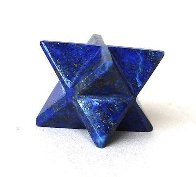 Lapis Lazuli Hand Carved Crystal Merkaba Star - Krystal Gifts UK