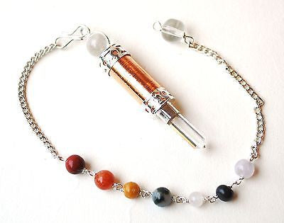 Clear Quartz Crystal & Copper Dowsing Pendulum - Krystal Gifts UK