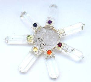 Clear Quartz Crystal Energy Generator with Chakra Gem Stones - Krystal Gifts UK