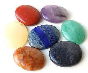 Set of Seven Crystal Chakra Healing Palm Stones - Krystal Gifts UK